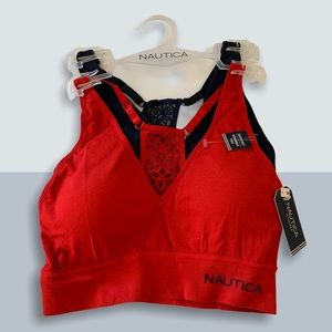 NAUTICA INTIMATES BRA SET OF 2 RED BLUE AND LACE M